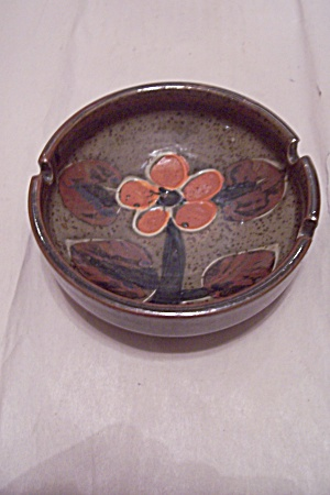 Olive Green Porcelain Orange Flower Decorated As Tray (Image1)