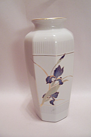 Otagiri Porcelain 8-sided Iris Decorated Vase
