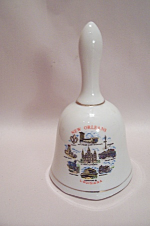 White Porcelain New Orleans Souvenir Collector Bell