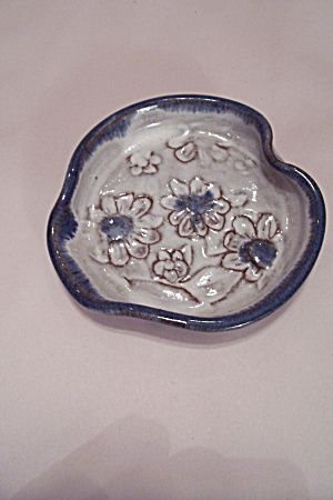 Hand Thrown Blue & White Pottery Candy Dish