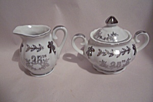 Lefton 25th Silver Wedding Anniversary Creamer & Sugar