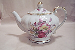 Floral & Gilt Decorated Porcelain Teapot