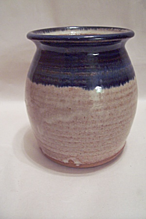 Handmade Blue & Tan Art Pottery Vase