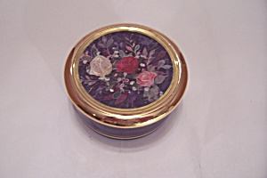Dufex Cobalt Blue China Box With Rose Decorated Lid