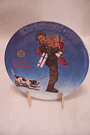 Wrapped Up In Christmas By Norman Rockwell Plate
