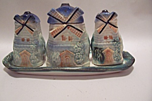 Occupied Japan Windmill Motif Salt & Pepper Set