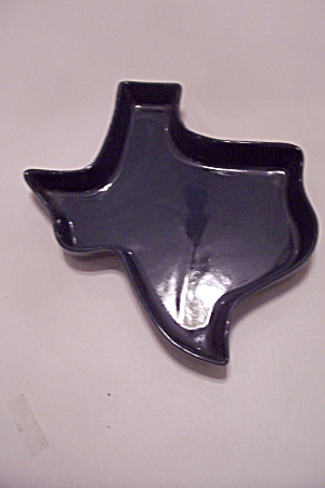 Frankoma Blue Pottery Texas Map Dish