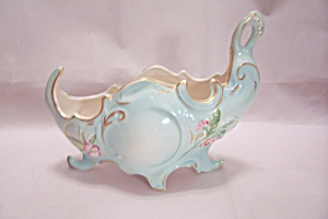 Light Blue Floral Decorated Porcelain Gondola Planter