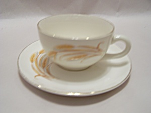 Homer Laughlin Golden Wheat Pattern Cup & Saucer (Image1)