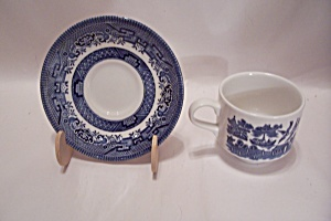 Churchill Wikkow Pattern Fine China Flat Cup & Saucer