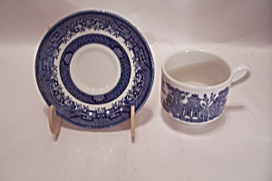 Churchill Willow Pattern Fine China Fkat Cup & Saucer