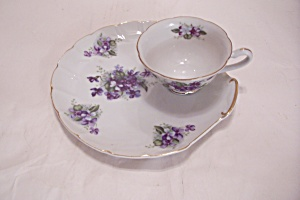 Lefton China Purple Flower Snack Plate & Cup Set