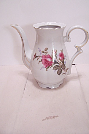 Red Rose Decorated Porcelain Teapot