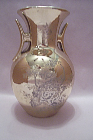 Japanese Gold Colored Peacock Vase With Handles