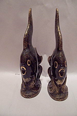 Pair Of Black & Goal Decorative Fish