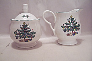 Nikko China Christmas Tree Design Creamer & Sugar Set