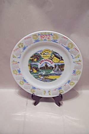 Arkansas Souvenir 1972 Calendar Collector Plate