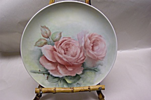Handpainted Pink Rose Collector Plate