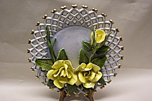 Lattice Work 3-dimensional Floral Collector Plate
