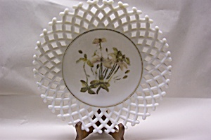 Handpainted Lattice Work Milk Glass Plate