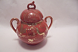 Occupied Japan Dragon Ware Orange Sugar Bowl (Image1)