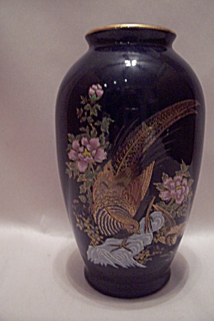 Pheasant Decorated Cobalt Blue Porcelain Vase Porcelain