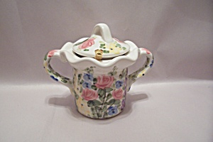 English Garden Porcelain Lidded Sugar Bowl
