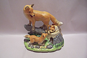 Porcelain Hand Painted Fox Family Figurine (Image1)