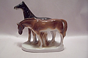 Occupied Japan Porcelain Two Horse Figurine