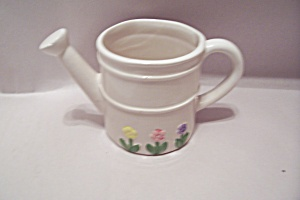 White Floral Decorated Porcelain Water Can Cache Pot
