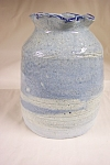 Click here to enlarge image and see more about item BG00003: Artist Made Blue Glazed Pottery Vase