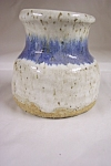 Click here to enlarge image and see more about item BG00004: Blue & White Glazed Art Pottery Vase