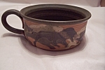 Handmade Art Pottery Handled Soup Bowl