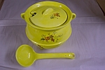 Click to view larger image of Artist Handmade Yellow Soup Tureen With Ladle (Image1)