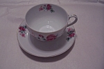 Click here to enlarge image and see more about item BG00048: Occupied Japan Rose Pattern Cup & Saucer