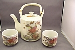 Click here to enlarge image and see more about item BG00281: Butterfly & Floral Design Teapot Set