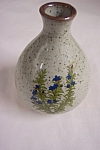 Small Bulbous Pottery Vase With Floral Design