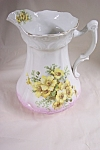 Click here to enlarge image and see more about item BG00474: Vintage Limoges Large Yellow Rose  Theme Pitcher