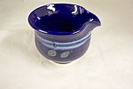 Stunning handmade and artist signed cobalt blue art pottery spouted bowl.  Unusual design.4-3/4 inches in diameter and 3-3/4 inches tall.  Signed on bottom.  Like new condition.  1980-90s.