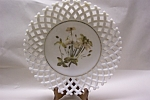 Click to view larger image of Handpainted Lattice Work Milk Glass Plate (Image1)