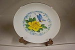 Click here to enlarge image and see more about item CP168: Yellow Rose & Butterfly Collector Plate