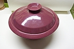 Click here to enlarge image and see more about item PFRK008: Frankoma Maroon Covered Bowl