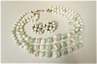 Vintage White And Green Bead Necklace & ER Set