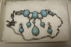 Turquoise And Antiqued Silver Necklace & Earrings