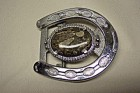 Silver Horseshoe & Fossil Cabachon Belt Buckle