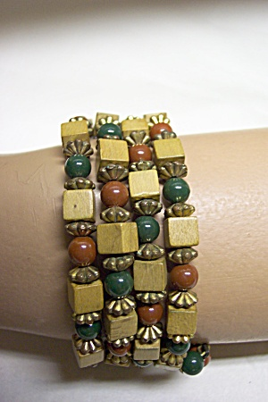 Square Wooden Beads & Round Glass Bead Bracelet