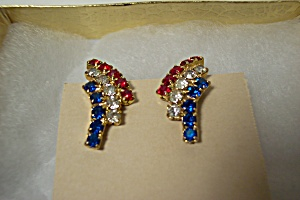 Red, Clear, & Blue Rhinestone Earrings