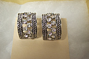 Clear Rhinestone Vintage Earrings