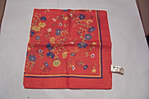 Women's Italian Red Floral 100% Polyester Scarf