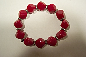 Red Beads With Filigreed Silver Dividers (Image1)